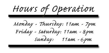 Hours of Operation for Nevada Vapor Supply - Monday through Thursday 11am to 7pm, friday and saturday - 11am to 9pm, closed Sunday.